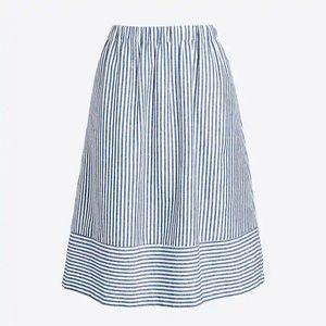 NWT JCrew Striped linen midi skirt